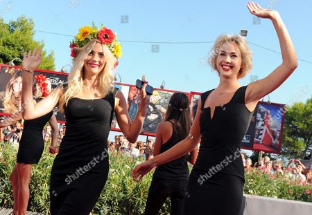 Activists of the Feminist Protest Group Femen Including Sasha Shevchenko (r) Arrive For the Screening of 'Ukraina Ne Bordel' (ukraine is not a Brothel) at the 70th Annual Venice International Film Festival in Venice Italy 05 September 2013 the Movie is Presented out of Competition As Special Screening the Festival Runs From 28 August to 07 September Italy Venice