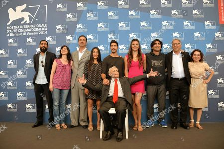 (l-r): Alexander Hacke Musician Actress Arevik Martirosyan Actor Simon Abkarian Actress Hindi Zahara Actor Tahar Rahim Actress Lara Heller German Director Fatih Akin Makrram J Khoury Producer Nurhan Sekerci and Screenwriter Mardik Martin (front) Pose During a Photocall For the Movie 'The Cut' During the 71st Annual Venice International Film Festival in Venice Italy 31 August 2014 the Movie is Presented in the Official Competition Venezia 71 at the Festival Running From 27 August to 06 September Italy Venice