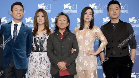 (l-r) Chinese Actors/cast Members Zhang Yi Zhao Wei Director Peter Ho-sun Chan Hao Lei and Tong Dawei Pose During a Photocall For the Movie 'Dearest' (qin'ai De) During the 71st Annual Venice Film Festival at the Lido in Venice Italy 28 August 2014 the Movie is Presented in the out of Competition Selection at the Festival Running From 27 August to 06 September Italy Venice