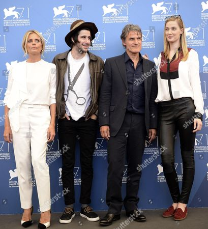 (l-r) Italian Actress/cast Member Isabella Ferrari French Actor Clement Metayer Italian Director Renato De Maria and Italian Top Model and Actress Eva Riccobono Pose at a Photocall For the Movie 'La Vita Oscena' During the 71st Annual Venice Film Festival at the Lido in Venice Italy 28 August 2014 the Movie is Presented in the Orizzonti Selection at the Festival Running From 27 August to 06 September Italy Venice