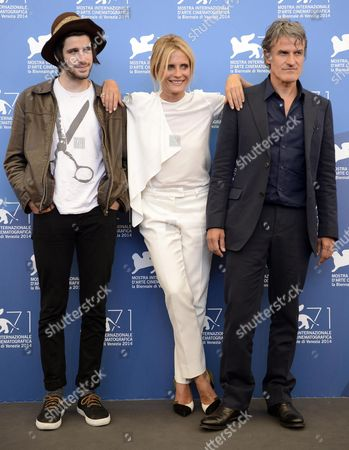 (l-r) French Actor Clement Metayer Italian Actress and Producer Isabella Ferrari and Italian Director Renato De Maria Pose at a Photocall For the Movie 'La Vita Oscena' During the 71st Annual Venice Film Festival at the Lido in Venice Italy 28 August 2014 the Movie is Presented in the Orizzonti Selection at the Festival Running From 27 August to 06 September Italy Venice