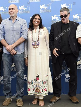 (l-r) Mexican Director Guillermo Arriaga Indian Director Mira Nair and Israeli Director Amos Gitai Pose at a Photocall For 'Words with Gods' During the 71st Annual Venice International Film Festival in Venice Italy 30 August 2014 the Movie is Presented out of Competition at the Festival Running From 27 August to 06 September Italy Venice