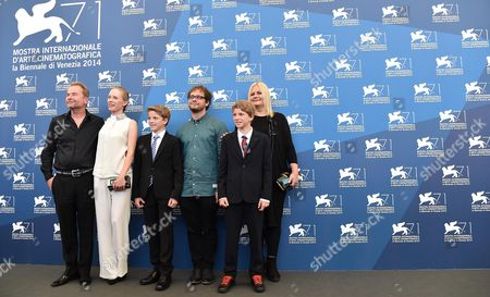 (l-r) Austrian Producer Ulrich Seidl Austrian Actress Susanne Wuest Actor Lukas Schwarz Director Severin Fiala Actor Elias Schwarz and Austrian Director Veronika Franz Pose at a Photocall For 'Ich Seh Ich Seh' (goodnight Mommy) During the 71st Annual Venice International Film Festival in Venice Italy 30 August 2014 the Movie is Presented out of Competition at the Festival That Runs From 27 August to 06 September Italy Venice