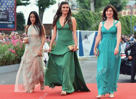 Stock Picture of (l-r) Actresses Hindi Zahra Lara Heller and Arevik Martirosyan Arrive For the Premiere of 'The Cut' During the 71st Annual Venice International Film Festival in Venice Italy 31 August 2014 the Movie is Presented in the Official Competition Venezia 71 at the Festival That Runs From 27 August to 06 September Italy Venice