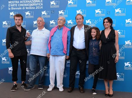 (l-r) French Actors/cast Members Arthur Beauvois Eugene Chaplin French Composer Michel Legrand French Director Xavier Beauvois Actresses/cast Members Seli Gmach and Nadine Labaki Pose at a Photocall For 'La Rancon De La Gloire' During the 71st Annual Venice International Film Festival in Venice Italy 28 August 2014 the Movie is Presented in the Official Competition Venezia 71 at the Festival That Runs From 27 August to 06 September Italy Venice