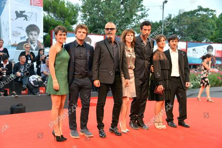 (l-r) Italian Actors Rosabell Laurenti Sellers Jacopo Olmo Antinori Director Ivano De Matteo Barbara Bobulova Alessandro Gassmann Giovanna Mezzogiorno and Luigi Lo Cascio Pose on the Red Carpet For the Premiere of 'I Nostri Ragazzi' During the 71st Annual Venice International Film Festival in Venice Italy 04 September 2014 the Movie is Presented in Official Competition Selection Venezia 71 at the Festival Running From 27 August to 06 September Italy Venice