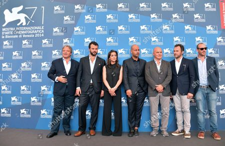 Italian Actor Giampaolo Fabrizio Italian Director Edoardo De Angelis Italian Actors Simona Tabasco Marco D'amore Luca Zingaretti and Massimiliano Gallo and Producer Pierpaolo Verga Pose at a Photocall For 'Perez' During the 71st Annual Venice International Film Festival in Venice Italy 05 September 2014 the Movie is Presented out of Competition at the Festival Running From 27 August to 06 September Italy Venice