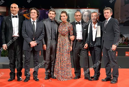 (l-r) Actors Franz Cantalupo Maurizio Bologna and Claudio Castrogiovanni Italian Director/screenwriter Sabina Guzzanti and Actors Enzo Lombardo Filippo Luna and Ninni Bruschetta Arrive For the Premiere of 'La Trattativa' During the 71st Annual Venice International Film Festival in Venice Italy 03 September 2014 the Movie is Presented out of Competition at the Festival Running From 27 August to 06 September Italy Venice