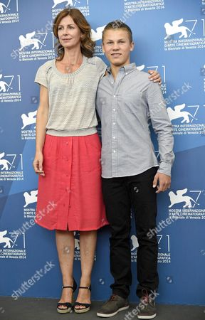 French Director Alix Delaporte (l) and Compatriot Actor/cast Member Romain Paul Pose During a Photocall For the Movie 'Le Dernier Coup De Marteau' During the 71st Annual Venice International Film Festival at the Lido in Venice Italy 03 September 2014 the Movie is Presented in the Venezia 71 Section at the Festival Running From 27 August to 06 September Italy Venice