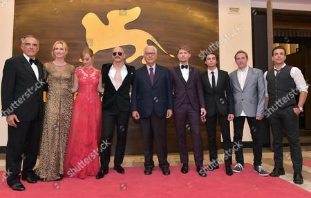 (l-r) Festival Director Alberto Barbera Us Actresses Janet Jones Gretzky and Ahna O'reilly Us Actor-director James Franco Festival President Paolo Baratta and Us Actors Scott Haze and Jacob Loeb Arrive For the Premiere of 'The Sound and the Fury' During the 71st Annual Venice International Film Festival in Venice Italy 05 September 2014 the Movie is Presented out of Competition at the Festival Running From 27 August to 06 September Italy Venice