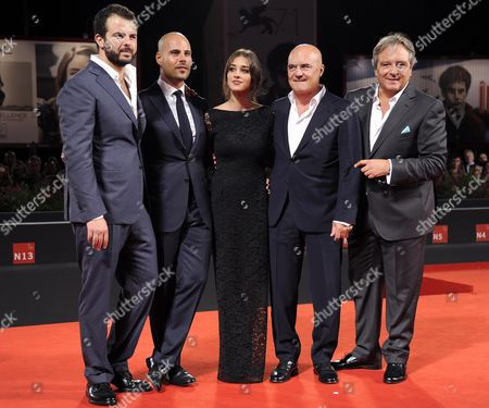 (l-r) Italian Director Edoardo De Angelis and Italian Actors/cast Members Marco D'amore Simona Tabasco Luca Zingaretti and Giampaolo Fabrizio Arrive For the Premiere of 'Perez' During the 71st Annual Venice International Film Festival in Venice Italy 05 September 2014 the Movie is Presented out of Competition at the Festival Running From 27 August to 06 September Italy Venice