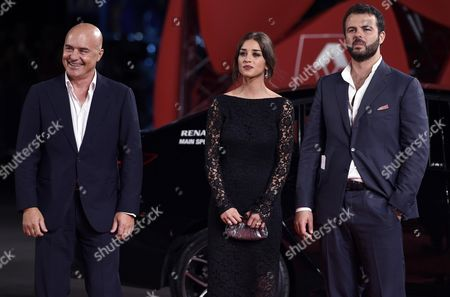 (l-r) Italian Actors/cast Members Luca Zingaretti and Simona Tabasco and Italian Director Edoardo De Angelis Arrive For the Premiere of 'Perez' During the 71st Annual Venice International Film Festival in Venice Italy 05 September 2014 the Movie is Presented out of Competition at the Festival Running From 27 August to 06 September Italy Venice