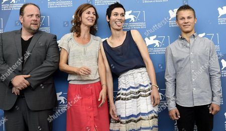 French (l-r) Actors/cast Members Gregory Gadebois Director Alix Delaporte Clotilde Hesme and Romain Paul Pose During a Photocall For the Movie 'Le Dernier Coup De Marteau' During the 71st Annual Venice International Film Festival at the Lido in Venice Italy 03 September 2014 the Movie is Presented in the Venezia 71 Section at the Festival Running From 27 August to 06 September Italy Venice