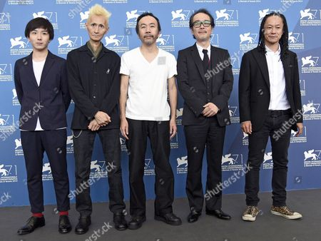 Japanese (l-r) Actor/cast Member Yusaku Mori Musician Chu Ishikawa Director Shinya Tsukamoto Actors/cast Members Lily Franky and Tatsuya Nakamura Pose During a Photocall For the Movie 'Nobi' (fires on the Plain) During the 71st Annual Venice International Film Festival at the Lido in Venice Italy 02 September 2014 the Movie is Presented in the Venezia 71 Section at the Festival Running From 27 August to 06 September Italy Venice