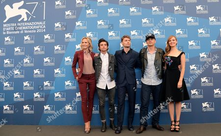(l-r) Us Actors Janet Jones Gretzky Jacob Loeb Scott Haze Director James Franco and Ahna O'reilly Pose During a Photocall For the Movie 'The Sound and the Fury' During the 71st Annual Venice International Film Festival in Venice Italy 05 September 2014 the Movie is Presented out of Competition at the Festival Running From 27 August to 06 September Italy Venice