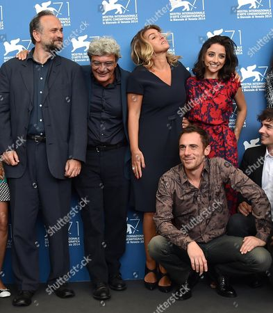 Stock Image of (l-r) Italian Actor Massimo Popolizio Italian Director Mario Martone Italian Screenwriter Ippolita Di Majo Italian Actors Elio Germano Federica De Cola and Edoardo Natoli Pose During a Photocall For the Movie 'Il Giovane Favoloso' During the 71st Annual Venice International Film Festival at the Lido in Venice Italy 01 September 2014 the Movie is Presented in the Official Competition Venezia 71 at the Festival Running From 27 August to 06 September Italy Venice