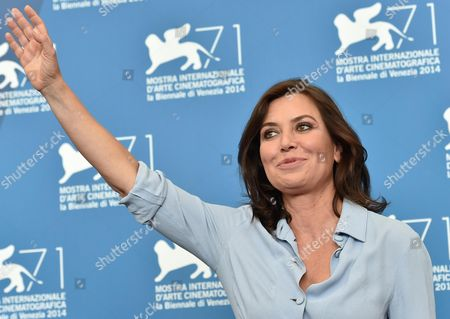Italian Actress/cast Member/director Sabina Guzzanti Poses During a Photocall For the Movie 'La Trattativa' During the 71st Annual Venice International Film Festival at the Lido in Venice Italy 03 September 2014 the Movie is Presented out of Competition at the Festival Running From 27 August to 06 September Italy Venice
