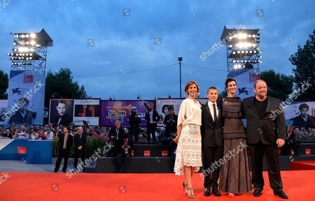 (l-r) French Director Alix Delaporte and French Actors/cast Members Romain Paul Clotilde Hesme and Gregory Gadebois Arrive For the Premiere of 'Le Dernier Coup De Marteau' During the 71st Annual Venice International Film Festival in Venice Italy 03 September 2014 the Move is Presented in the Official Competition Venezia 71 of the Festival Running From 27 August to 06 September Italy Venice