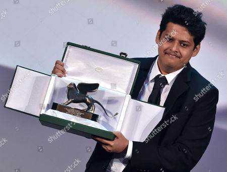 Indian Director Chaitanya Tamhane Holds the Orizzonti Award For the Best Debut Film For 'Court' During the Awarding Ceremony of the 71st Annual Venice International Film Festival in Venice Italy 06 September 2014 the Festival Runs From 27 August to 06 September Italy Venice