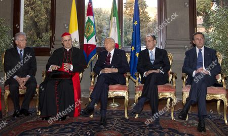 (l-r) Italian Outgoing Prime Minister Mario Monti Secretary of Vatican State Cardinal Tarcisio Bertone Italian Republic President Giorgio Napolitano Italian Senate President Renato Schifani Italian Chamber of Deputies President Gianfranco Fini During the Celebrations For the Lateran Treaty at Italian Embassy to the Holy See at the Vatican City 12 February 2013 Vatican City State (holy See) Vatican City