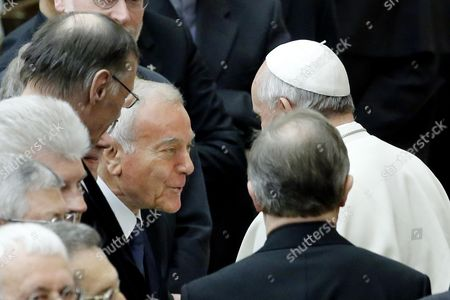 Pope Francis (r) Greets Italian Politician (c-l) Gianni Letta at the End of a Meeting with Members of the Pontifical Gregorian University at the Vatican 10 April 2014 Vatican City State (holy See) Vatican City