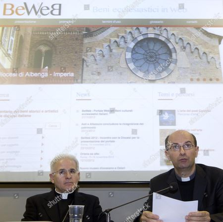 Stock Photo of From Left Monsignor Mariano Crociata and Monsignor Stefano Russo During the Presentation to the Press of the Web Page 'Beweb' Rome 22 November 2012 Through 'Beweb' 3 5 Milion of Cultural and Historical Goods of the Catholic Church Will Be on Internet Available to Everybody Vatican City State (holy See) Vatican City