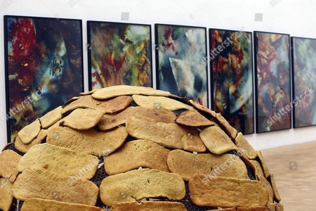 A View of the Art Installation 'Igloo of the Bread' by Italian Artist Mario Merz Curated by Germano Celant and Display Design by Studio Italo Rota at the Arts & Foods Pavilion of Expo Milano 2015 in Milan Italy 08 April 2015 the Event Runs From 10 April Through 01 November 2015 Italy Milan