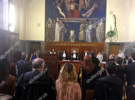 Stock Image of A View Inside the Milan Courthouse 19 July 2012 As Judges Prepare to Announce the Verdict in the Trial of Three Associates of Former Italian Premier Silvio Berlusconi They Were Found Guilty of Procuring Prostitutes For the Media Magnate's Controvesial So Called 'Bunga Bunga' Arties Emilio Fede Lele Mora and Nicole Minetti Were Given Jail Sentences of Between Five and Seven Years Italy Milan