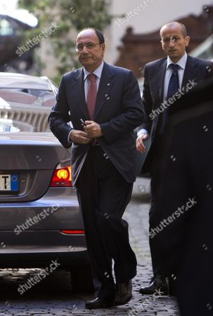 The Leader of the Parliamentary Group of Party of the Freedom at Italian Senate Renato Schifani Arrives at Palazzo Grazioli For a Summit with Silvio Berlusconi at His Residence in Rome 1 October 2013 a Senate Committee Will Vote Later This Week Whether to Expel Berlusoni Following His Recent Conviction on Tax Fraud Italy Rome