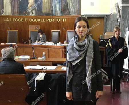Karima El Mahrough (c) Also Knowed As Ruby Leaves the Milan Courtroom After the Judges Questioned Her As Witness in the Trial Against Show Biz Manager Lele Mora Journalist Emilio Fede and Nicole Minetti in Milan Italy 17 May 2013 a Former Moroccan Nightclub Dancer at the Center of Silvio Berlusconi's Trial For Allegedly Paying For Sex with a Minor on 16 May Told She Had Never Seen the Former Italian Prime Minister Touch Any Girls at His Supposed Bunga Bunga Parties Italy Milan