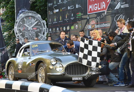 Fiat's President John Elkann with His Wife Lavinia Borromeo Sit in the Car During the Start of the Edition 2012 of the Cars Endurance Race 'Mille Miglia' in Brescia Italy 17 May 2012 Italy Brescia