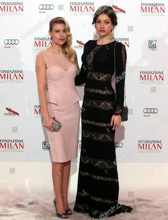 Swiss-born Italian Barbara Berlusconi (l) Ceo of Soccer Club Ac Milan and Her Sister Eleonora Berlusconi (r) Both Daughters of Italian Politician Silviio Berlusconi Pose For a Photo During the Annual Charity Dinner of the 'Fondazione Milan' (milan Foundation) in Milan Italy 10 March 2015 Italy Milan