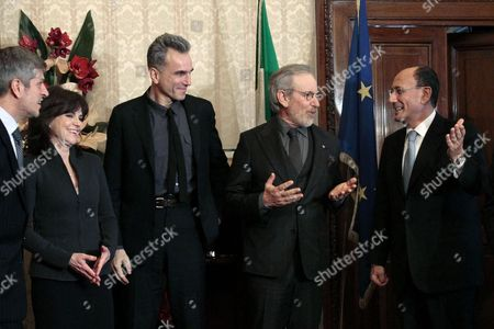 (l-r) Us Actress Sally Field British Actor Daniel Day Lewis and Us Director Steven Spielberg Are Received by the President of the Italian Senate Renato Schifani During His Meeting with the Cast of 'Lincoln' in Rome Italy 17 January 2013 the Movie Opens in Italian Theatres on 24 January Italy Rome