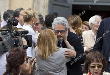 Italian Composer Nicola Piovani (c) Attends the Funeral Ceremony of Italian Screenwriter Vincenzo Cerami in Rome Italy 19 July 2013 Cerami who Studied with Pier Paolo Pasolini Died in Rome on 17 July 2013 He was 72 Italy Rome