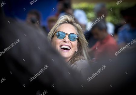 Us Actress/cast Member Sharon Stone Performs a Scene During the Shooting of the Movie 'Il Ragazzo D'oro' (lit : the Golden Boy) at the Piazza Del Popolo in Rome Italy 18 July 2013 the Filming of the New Movie of Italian Director Pupi Avati Started the Same Day Italy Rome