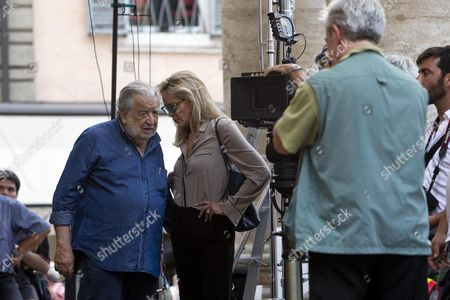 Italian Director Pupi Avati (l) Chats with Us Actress/cast Member Sharon Stone (c) During the Shooting of the Movie 'Il Ragazzo D'oro' (lit : the Golden Boy) at the Piazza Del Popolo in Rome Italy 18 July 2013 the Filming of the Avati's New Movie Started the Same Day Italy Rome