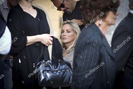 Us Actress/cast Member Sharon Stone (c) Looks on on Set During the Shooting of the Movie 'Il Ragazzo D'oro' (lit : the Golden Boy) at the Piazza Del Popolo in Rome Italy 18 July 2013 the Filming of the New Movie of Italian Director Pupi Avati Started the Same Day Italy Rome