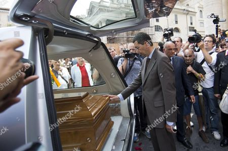 Stock Picture of Mayor of Rome Ignazio Marino (c) Attends the Funeral Ceremony of Italian Screenwriter Vincenzo Cerami in Rome Italy 19 July 2013 Cerami who Studied with Pier Paolo Pasolini Died in Rome on 17 July 2013 He was 72 Italy Rome