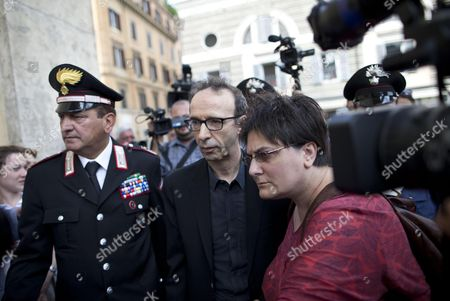 Italian Actor and Director Roberto Benigni (c) Arrives For the Funeral Ceremony of Italian Screenwriter Vincenzo Cerami in Rome Italy 19 July 2013 Cerami who Studied with Pier Paolo Pasolini Died in Rome on 17 July 2013 He was 72 Italy Rome