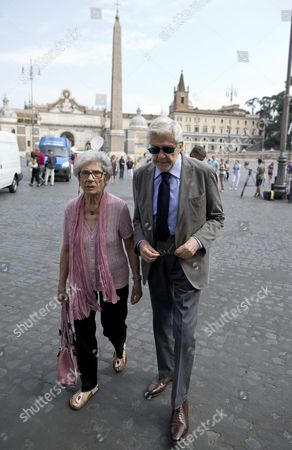 Italian Director Ettore Scola (r) and His Wife Arrive For the Funeral Ceremony of Italian Screenwriter Vincenzo Cerami in Rome Italy 19 July 2013 Cerami who Studied with Pier Paolo Pasolini Died in Rome on 17 July 2013 He was 72 Italy Rome