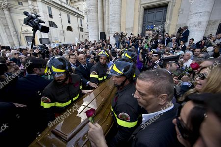 The Coffin of Italian Actor Giuliano Gemma is Carried Away by Firemen During His Funeral Ceremony in Rome Italy 07 October 2013 Gemma Died in a Car Accident Near Rome on 01 October 2013 Italy Rome
