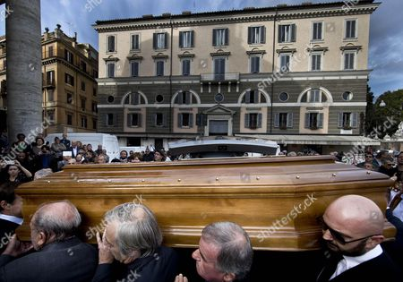 Stock Picture of Guests Carry the Coffin of Italian Actor Giuliano Gemma on Their Shoulders During His Funeral Ceremony in Rome Italy 07 October 2013 Gemma Died in a Car Accident Near Rome on 01 October 2013 Italy Rome