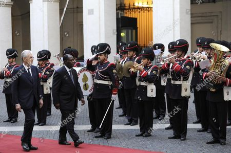 Italian Premier Mario Monti (front-l) and President of Costa D'avorio Alassane Dramane Ouattara (front-r) During an Official Visit at the Palazzo Chigi Rome Italy 16 November 2012 Italy Rome