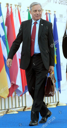 Christian Noyer Governor of the Central Bank of France Arrives For the Economic and Financial Affairs Council (ecofin) Meeting in Milan 13 September 2014 Eu Finance Ministers on 13 September Were Trying to Put Meat on the Bone of Plans to Stave Off Recession Risks by Mobilizing Large Volumes of Private and Public Investments the Eu Finance Talks Concluded a Two-day Session That Already Saw Meetings on 12 September Among Euro Area Countries and Between the European Union's 28 Finance Ministers and Asian Counterparts Under the Europe-asia Meeting (asem) Italy Milan