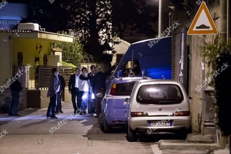Stock Photo of The Van with Erich Priebke's Coffin Leaves From a Building in Albano Italy 15 October 2013 the Coffin of the German War Criminal Erich Priebke was Taken the Pratica Di Mare Military Airport in Rome on 16 October 2013 Italy Albano (rome)