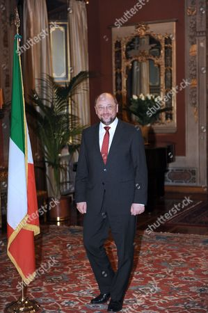 European Parliament President Martin Schulz Arrives to Meet with Italian Senate President Mario Schifani at Giustiniani Palace Rome Italy 23 February 2012 Ep-president Martin Schulz is on an Official Visit to Italy with Meetings with Italian President Giorgio Napolitano Prime Minister Mario Monti Parliament Speaker Gianfranco Fini and Senate Speaker Renato Schifani President Schulz Will Also Attend a Ceremony in Bologna City Hall to Commemorate the Marzabotto Massacre and Visit the Monte Sole Memorial There in Honour of the Hundreds of Victims of Waffen Ss Reprisals During World War Ii Italia Roma