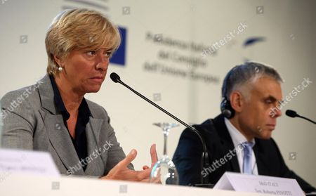 Italian Defence Minister Roberta Pinotti (l) with Polish Ambassador and Deputy Secretary General For the External Action Service (eas) Maciej Popowski Attend a Press Conference in Milan Italy 10 September 2014 European Defense Ministries Met in Milan to Display European Antiterrorism Action Italy Milan
