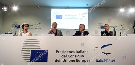 (l-r) President of European Defence Agency (eda) Claude France Arnould Italian Defense Minister Roberta Pinotti Polish Ambassador and Deputy Secretary General For the External Action Service (eas) Maciej Popowski and Chairman of the European Union Military Committee (ceumc) General Patrick De Rousiers Attend a Press Conference in Milan Italy 10 September 2014 European Defense Ministries Met in Milan to Display European Antiterrorism Action Italy Milan