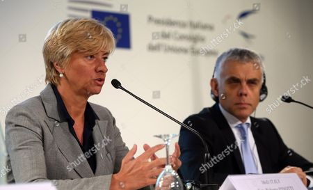 Stock Picture of Italian Defence Minister Roberta Pinotti (l) with Polish Ambassador and Deputy Secretary General For the External Action Service (eas) Maciej Popowski Attend a Press Conference in Milan Italy 10 September 2014 European Defense Ministries Met in Milan to Display European Antiterrorism Action Italy Milan