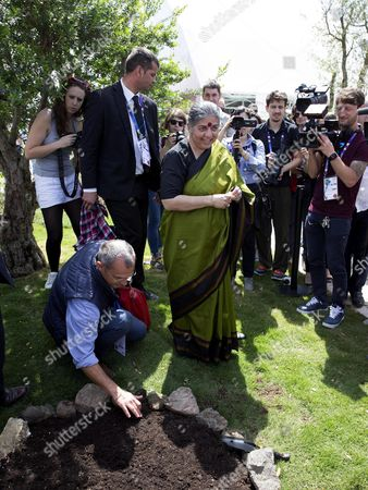 Indian Environmental Activist and Anti-globalization Author Vandana Shiva Sows Some Seeds of Organic Cereals During the Opening of the Biological Pavillion at the Expo in Milan 16 May 2015 the Exhibition Runs From 01 May to 31 October the Event's 2015 Theme is 'Feeding the Planet Energy For Life' Italy Milan